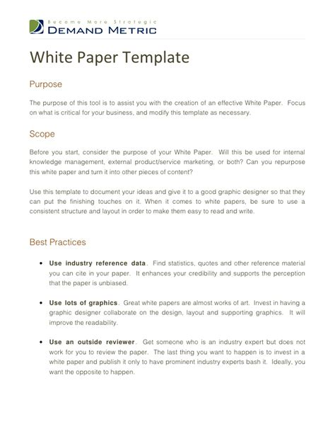 Writing A White Paper Template White Paper Template