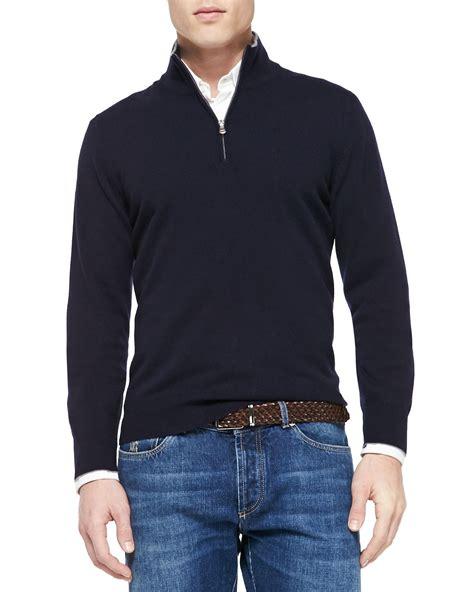 Sweater Inter Blue Half Zipper 1516 brunello cucinelli half zip sweater in blue for lyst