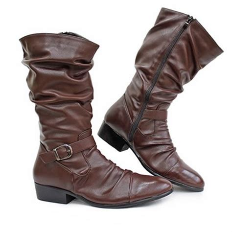 mens brown knee high boots cool brown knee high motorcycle biker battle