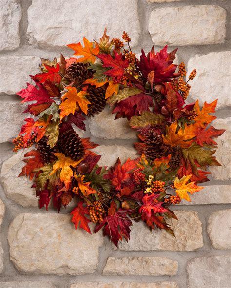 autumn wreaths colorful autumn maple silk foliage wreath at petals com