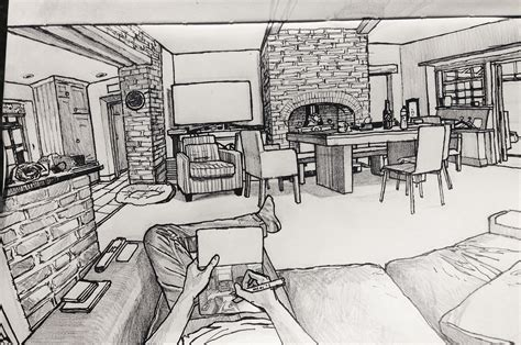 Drawing Living Room - sat with a sketchbook and started drawing my living