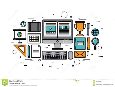 online tutorial home computer training line style illustration stock vector