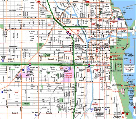 map chicago map of chicago usa