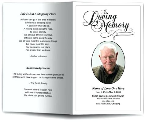 funeral program template lastcolorco