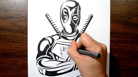 how to create a tattoo design how to draw deadpool tribal design style