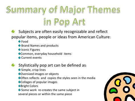 theme definition ks2 a lesson in pop art