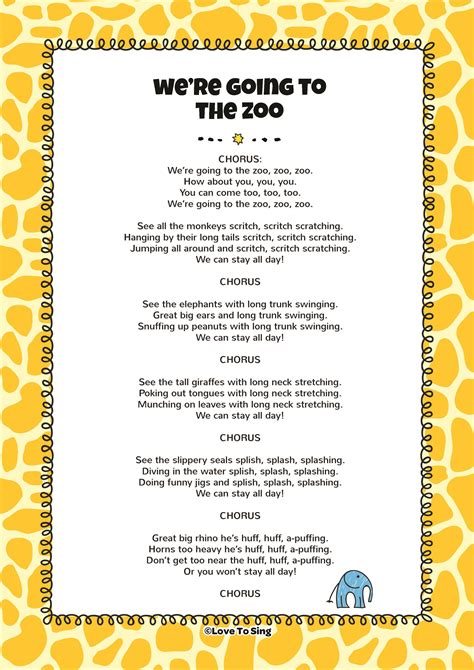 we were swinging lyrics we re going to the zoo kids video song with free lyrics