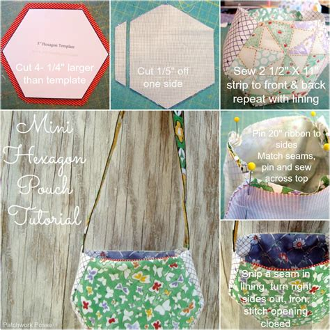 50 Bag Tutorials Patchwork Posse Easy Sewing Projects - mini hexagon pouch tutorial