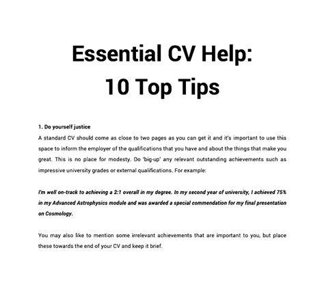 essential cv help 10 top tips print what matters