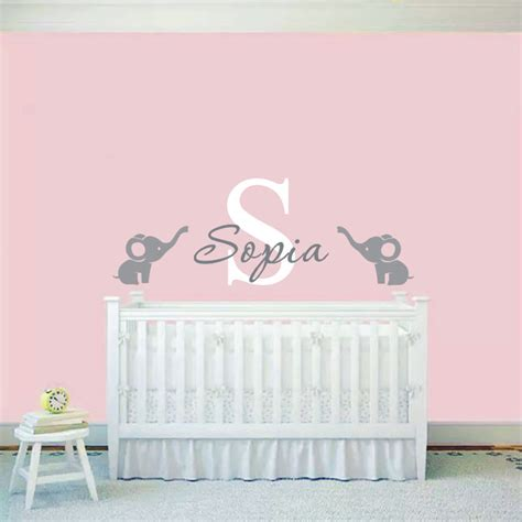 Nursery Wall Mural Decals 2016 Custom Baby Name Wall Sticker Elephants Wall Decal Nursery Wall Mural Baby Room Wall