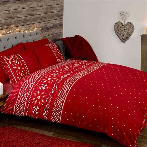 nordic christmas double duvet cover and pillowcase set red