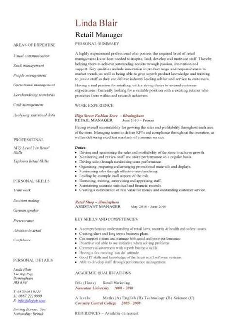 retail manager cv template resume exles job description