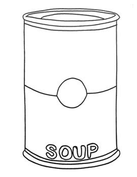 soup template warhol cbells soup page coloring pages