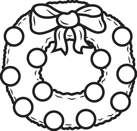 free printable christmas wreath coloring page for kids