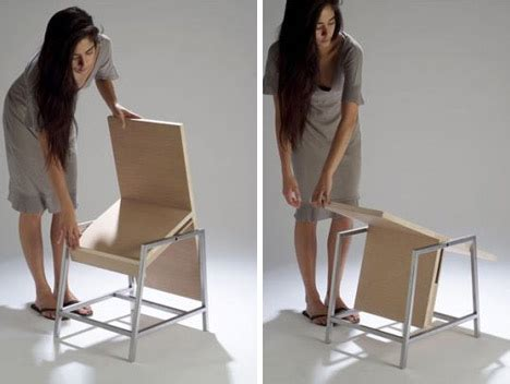 fold up home furniture flip flop table turns into a chair