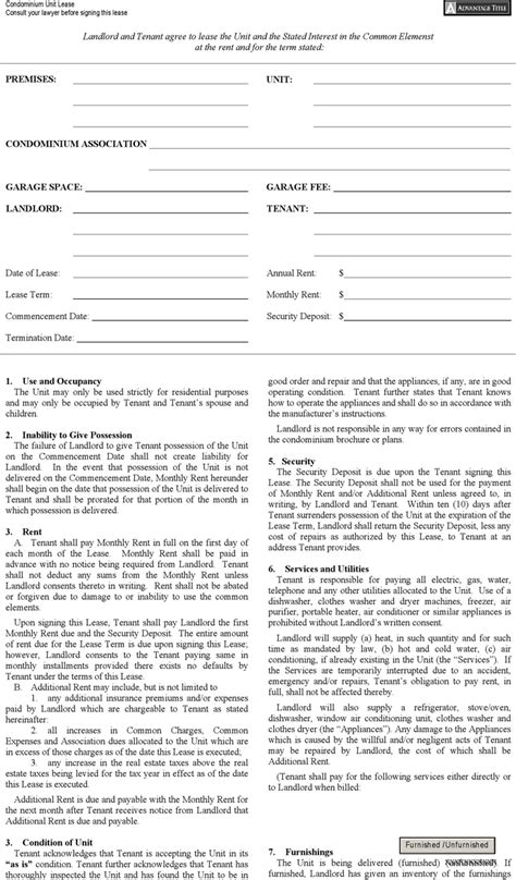 download new york condominium unit lease agreement form