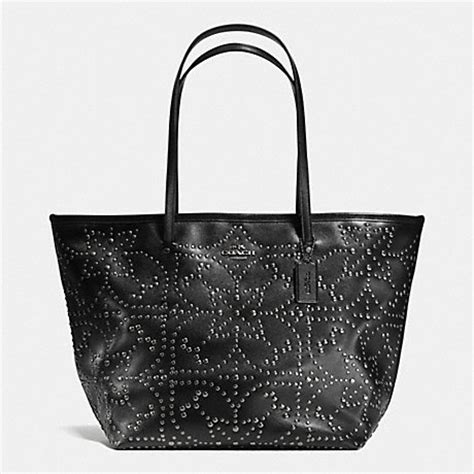 Coach City Tote Studded Black large tote in mini studded leather f35163 antique nickel black coach handbags