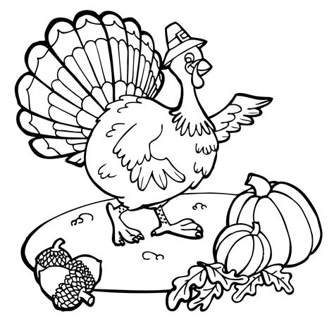 turkey image coloring page free printable thanksgiving coloring pages for kids