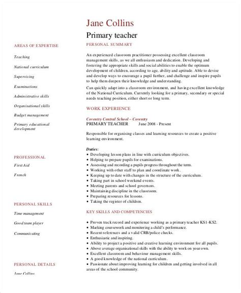 free sle resume for primary teachers in india resume exles 23 free word pdf documents