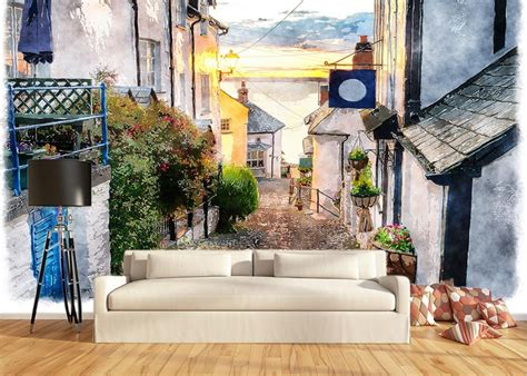 House Wall Murals classic painting wallpaper retro street house building