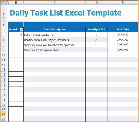 6 Daily Task List Template Teknoswitch Daily To Do List Template Excel