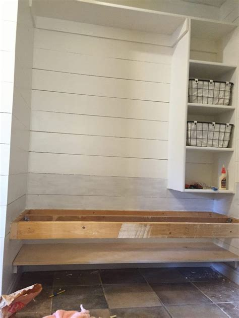 build  floating bench   mudroom  space