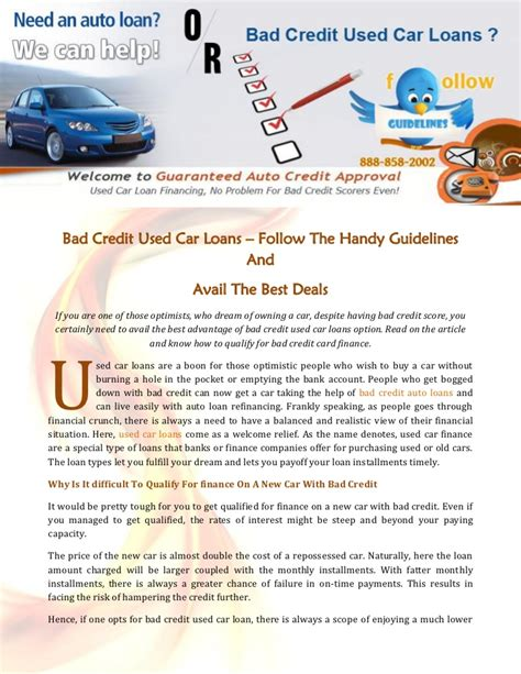 bad credit  car loans follow  handy guidelines