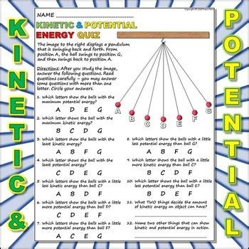kinetic vs potential energy worksheet worksheet kinetic vs potential energy 3 by travis terry tpt