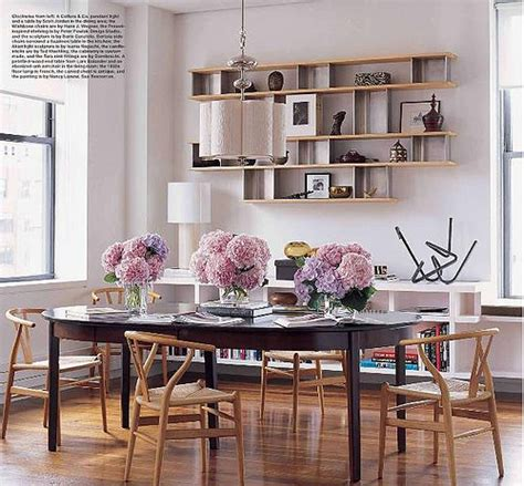 dining room library floating shelves wegner wishbone