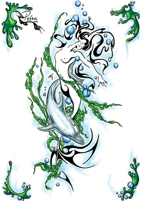 mermaid tribal tattoo tribal mermaid with a dolphin curled with green weeds