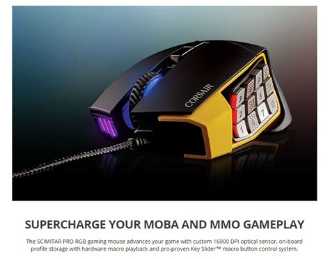 Mouse Gaming Corsair Scimitar Rgb Optical Moba Mmo Gami Murah corsair scimitar pro rgb optical moba mmo gaming mouse yellow ch 9304011 ap buy now jw