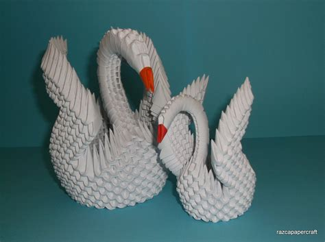 3d Origami Swan Tutorial - razcapapercraft how to make 3d origami swan model3