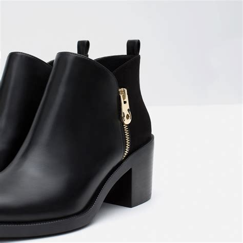 zara contrast ankle boots in black lyst