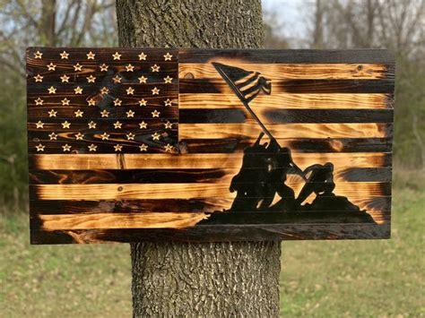 iwo jima rustic wooden flag wooden flag wood burning