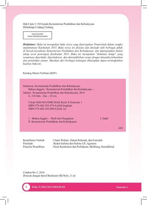 Model Model Pembelajaran Edisi 2 buku pegangan siswa bahasa inggris sma kelas 10 kurikulum