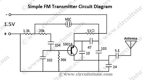 simple 1 transistor fm transmitter simple fm transmitter circuit schematic circuitstune