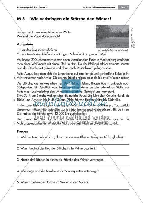 Informationstext Schreiben Muster Aus Sachtexten Informationen Entnehmen Text Und Fragen Zum Thema Quot Der Wei 223 Storch