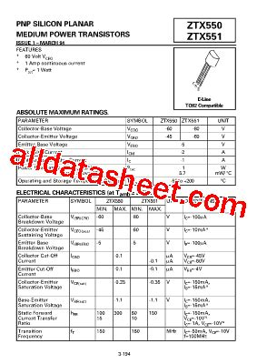 Ztx550 Transistor Pnp 45v ztx550 datasheet pdf zetex semiconductors