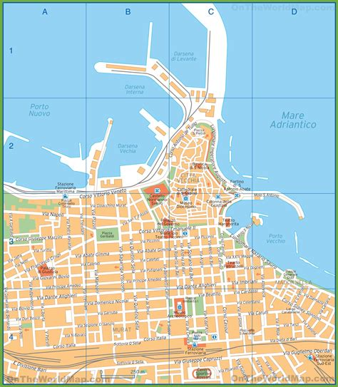 of bari tourist map of bari city centre