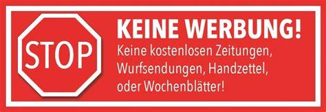 Keine Werbung Aufkleber by Briefkasten Aufkleber Stopp Keine Werbung Und Zeitungen