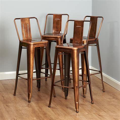 copper metal breakfast bar cafe stool industrialretro seat chair high  rest ebay