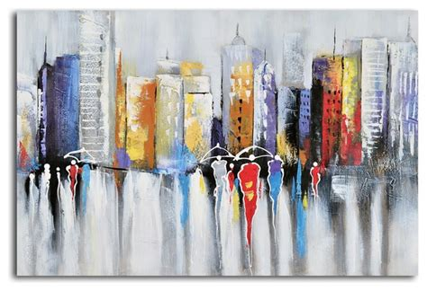High rise low reign hand painted canvas wall art modern artwork by my art outlet