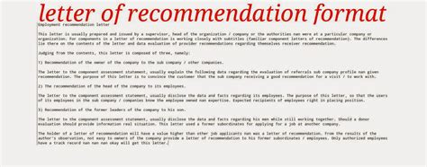 letter of recommendation format ~ samples business letters