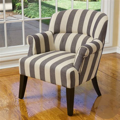blue and white striped club chair christopher home amelie blue stripe fabric club