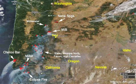 map of oregon 2017 fires nena springs and whitewater fires are within oregon s