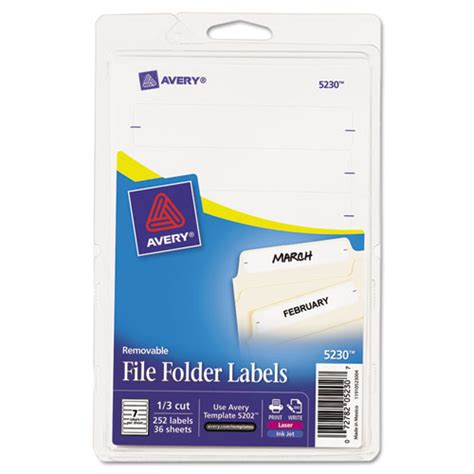 Bettymills Avery 174 Removable File Folder Labels Avery Ave5230 Avery Self Adhesive File Folder Labels 8 Per Sheet Template