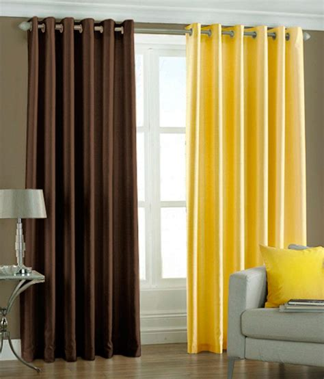 yellow and brown curtains pindia set of 2pc plain eyelet door curtains brown