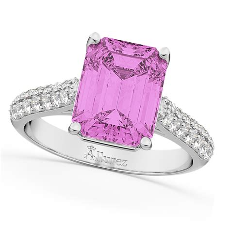 emerald cut pink sapphire ring 14k white gold 5 54ct