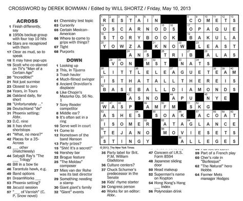 what section is the nyt crossword in the new york times crossword in gothic 05 10 13 is that