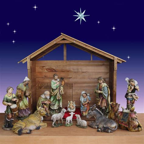 30 inch 14 piece artisan nativity set with stable